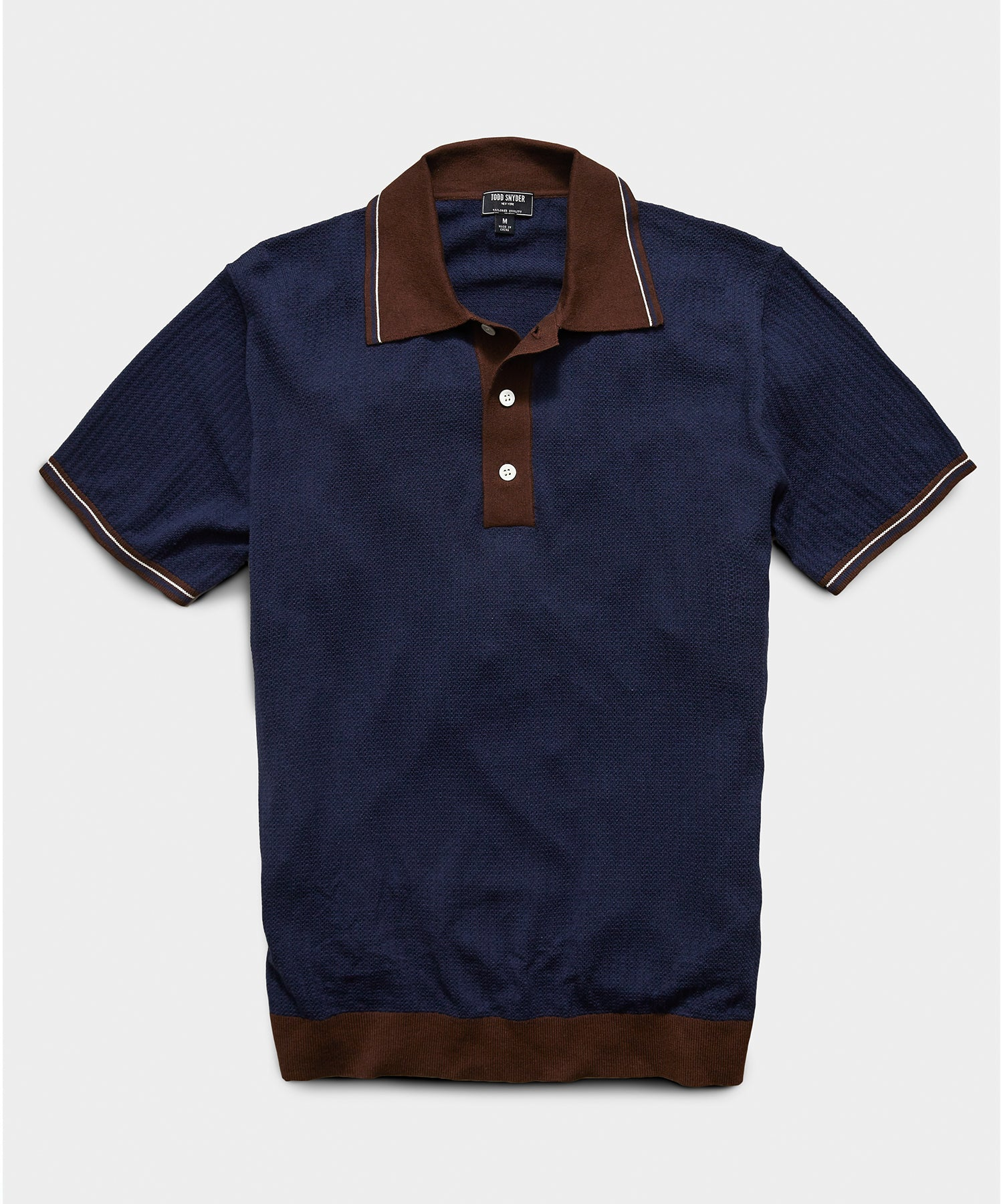 Textured Stitch Tipped Sweater Polo in Navy