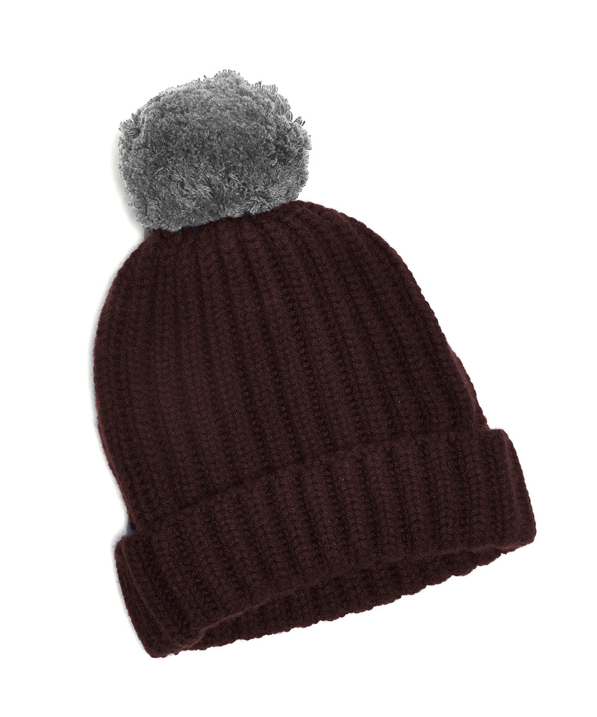 0d37fd8cc0d Corgi Big Pom Knit Two Tone Cashmere Hat in Burgundy