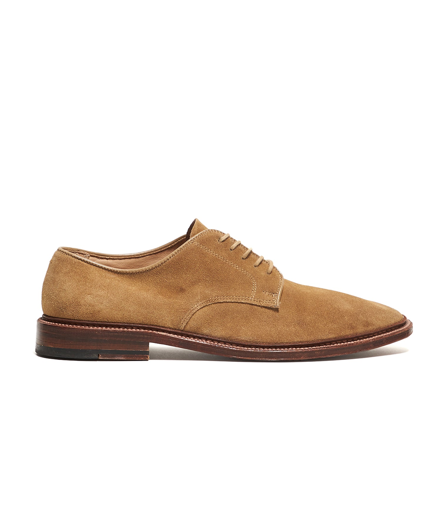 Alden Unlined Suede Plain Toe Blucher in Tan