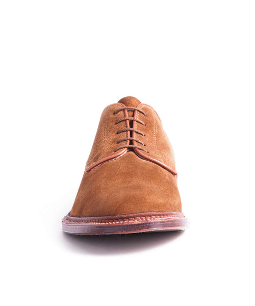 Alden Unlined Plain Toe Blucher in Snuff Suede
