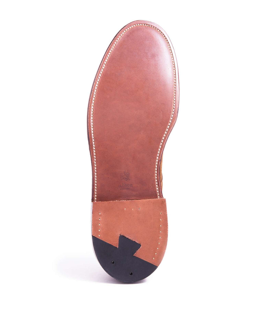 Alden Unlined Suede Plain Toe Blucher In Snuff