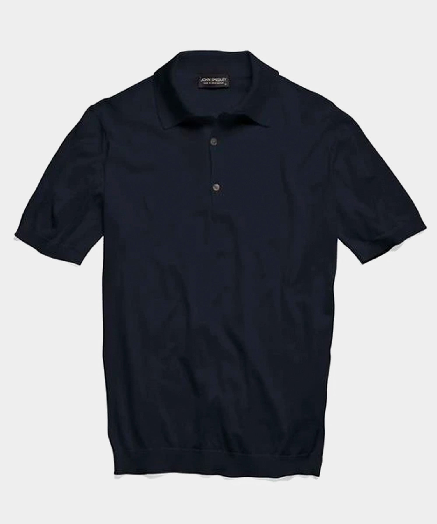 John Smedley Adrian Short Sleeve Polo Sweater in Navy