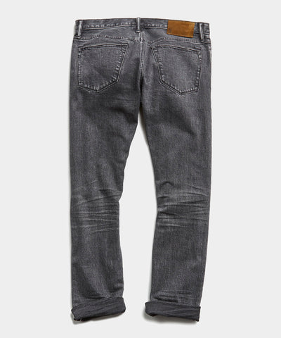Slim Fit Japanese Selvedge Denim in Washed Black
