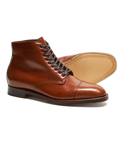 Alden Straight Tip Boot in Burnished Tan Calfskin