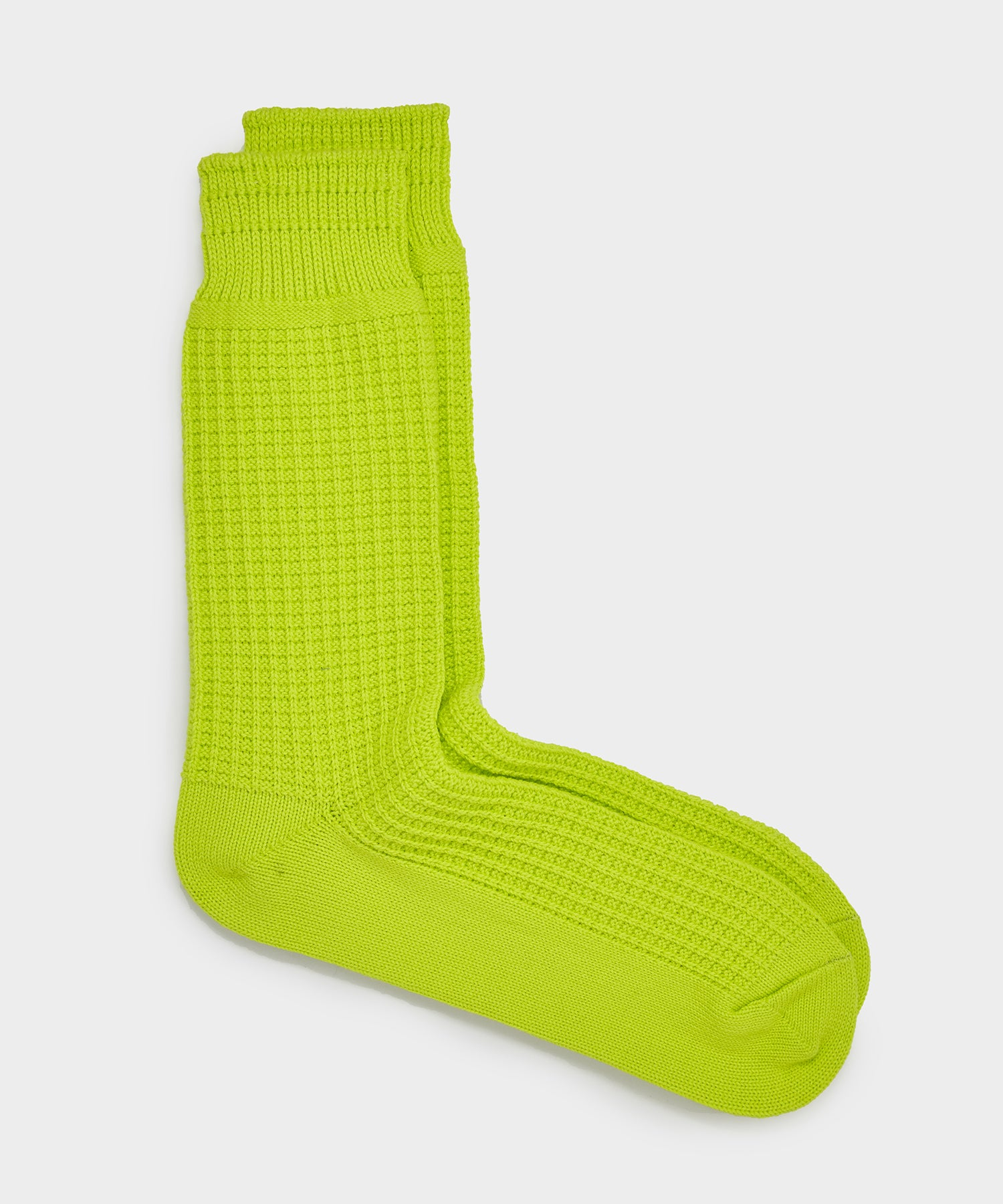 RoToTo Cotton Waffle Crew Socks in Neon Yellow