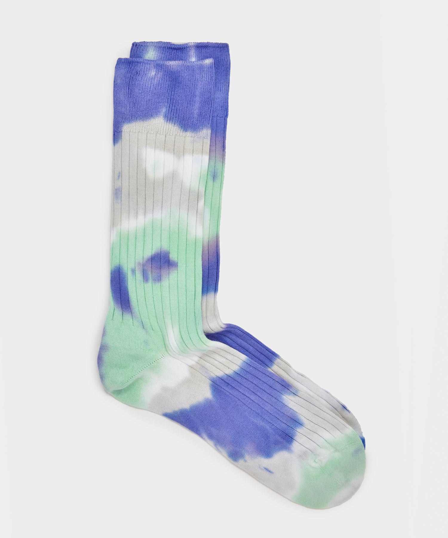 RoToTo Tie Dye Formal Crew Socks Slate Blue/Minty Green