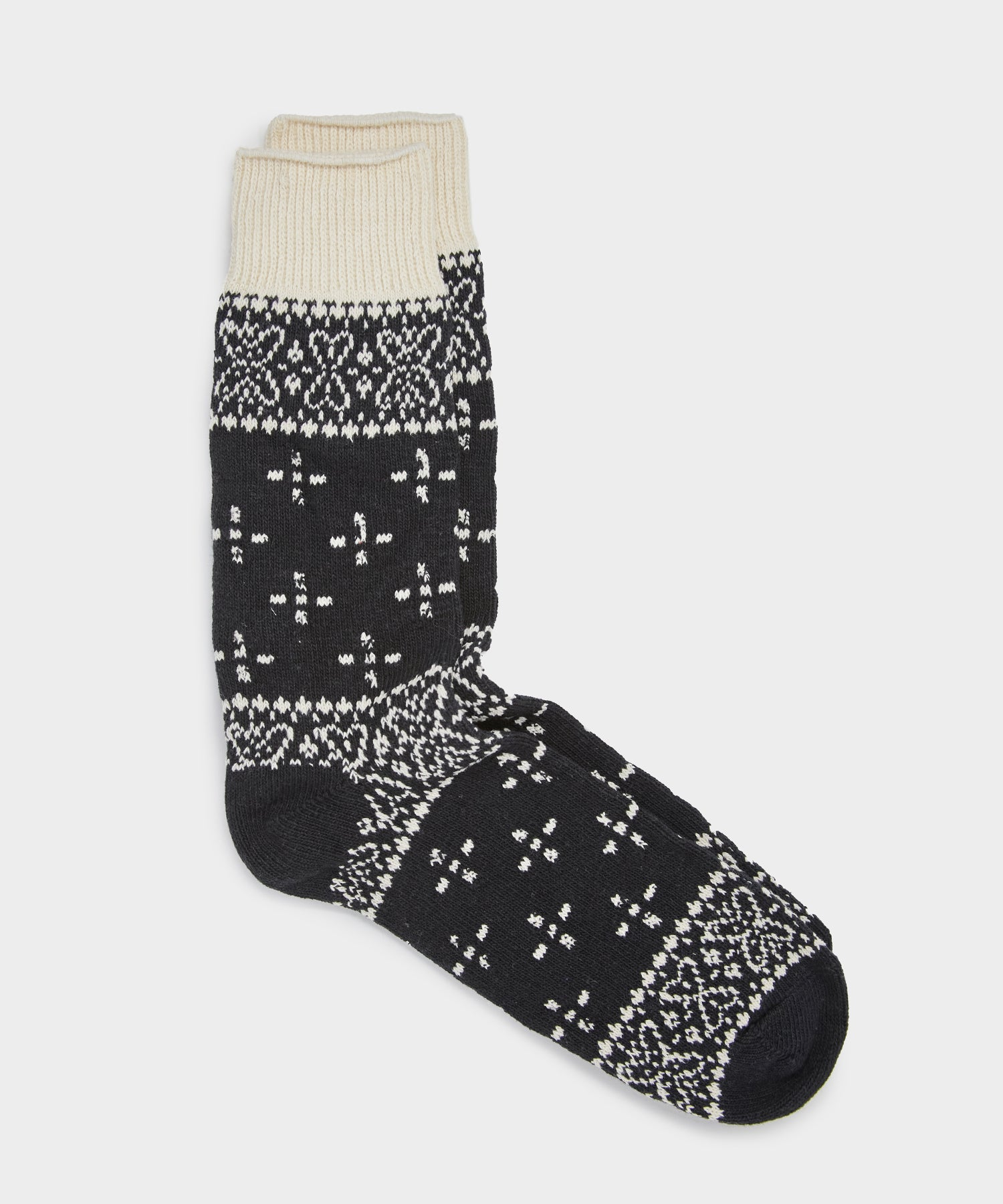 RoToTo Bandana Pattern Crew Socks in Black