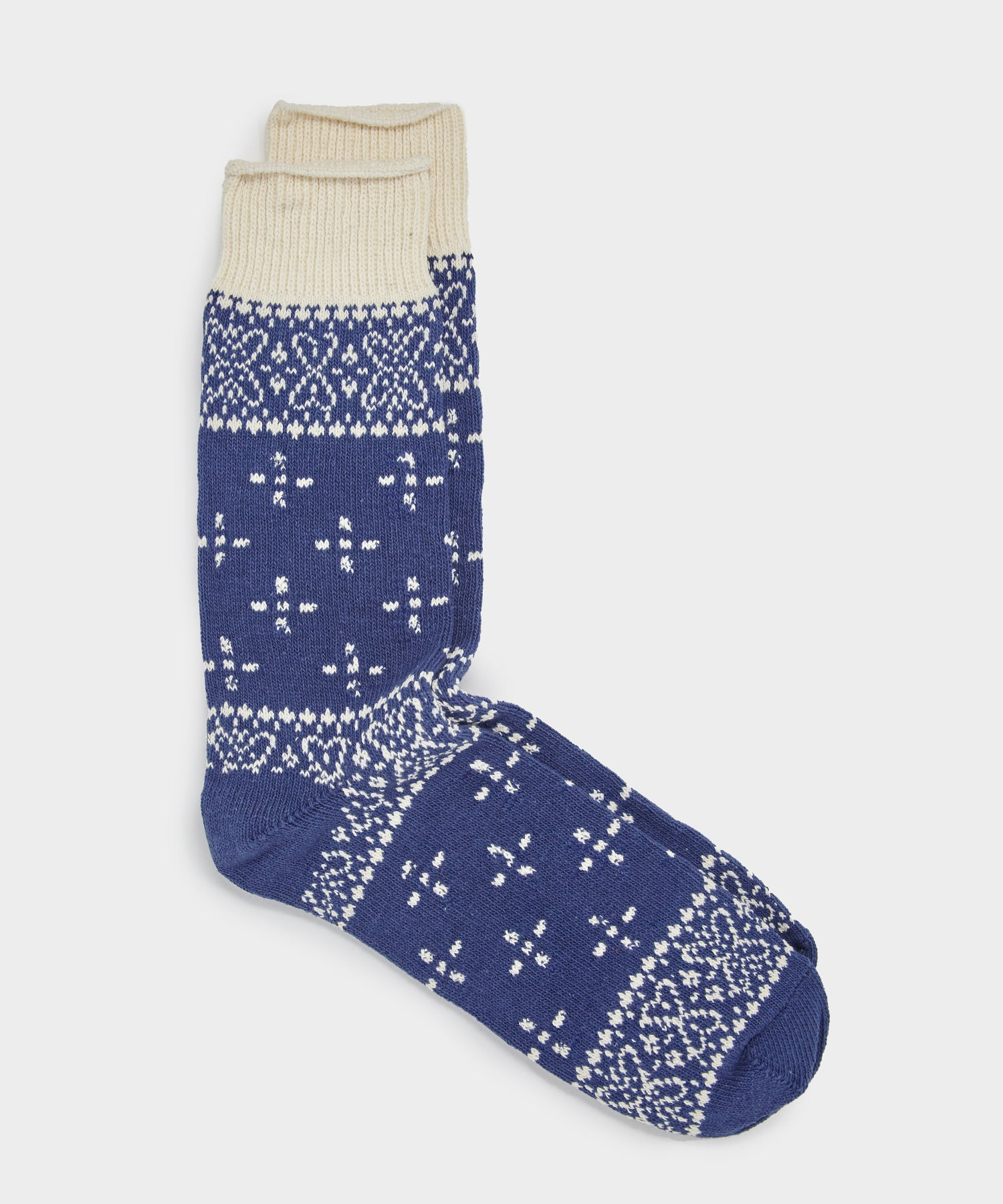 RoToTo Bandana Pattern Crew Socks in Blue