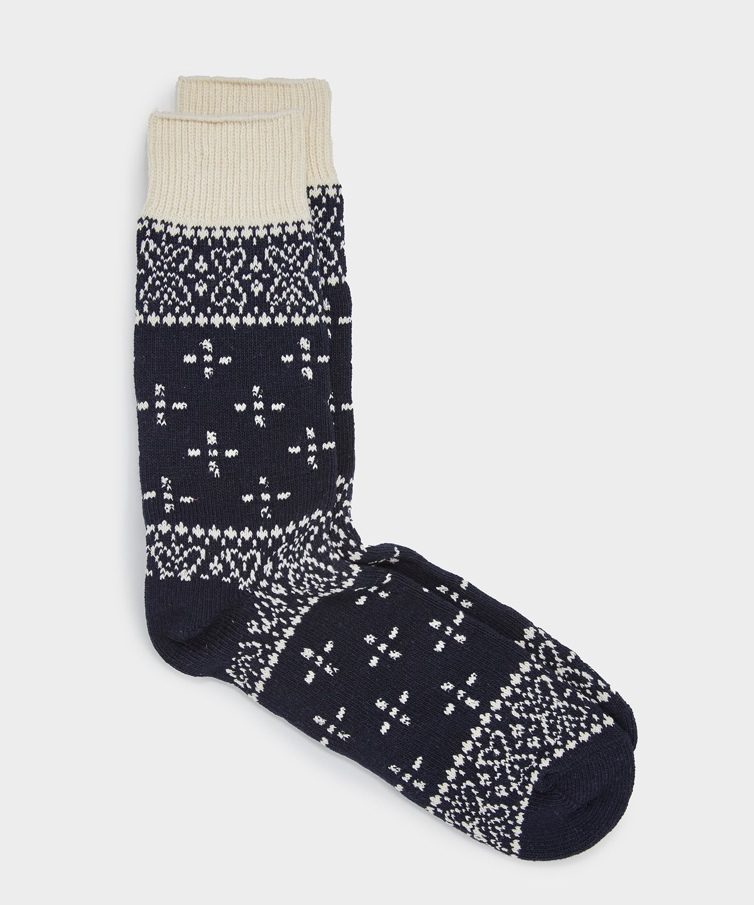 RoToTo Bandana Pattern Crew Socks in Navy