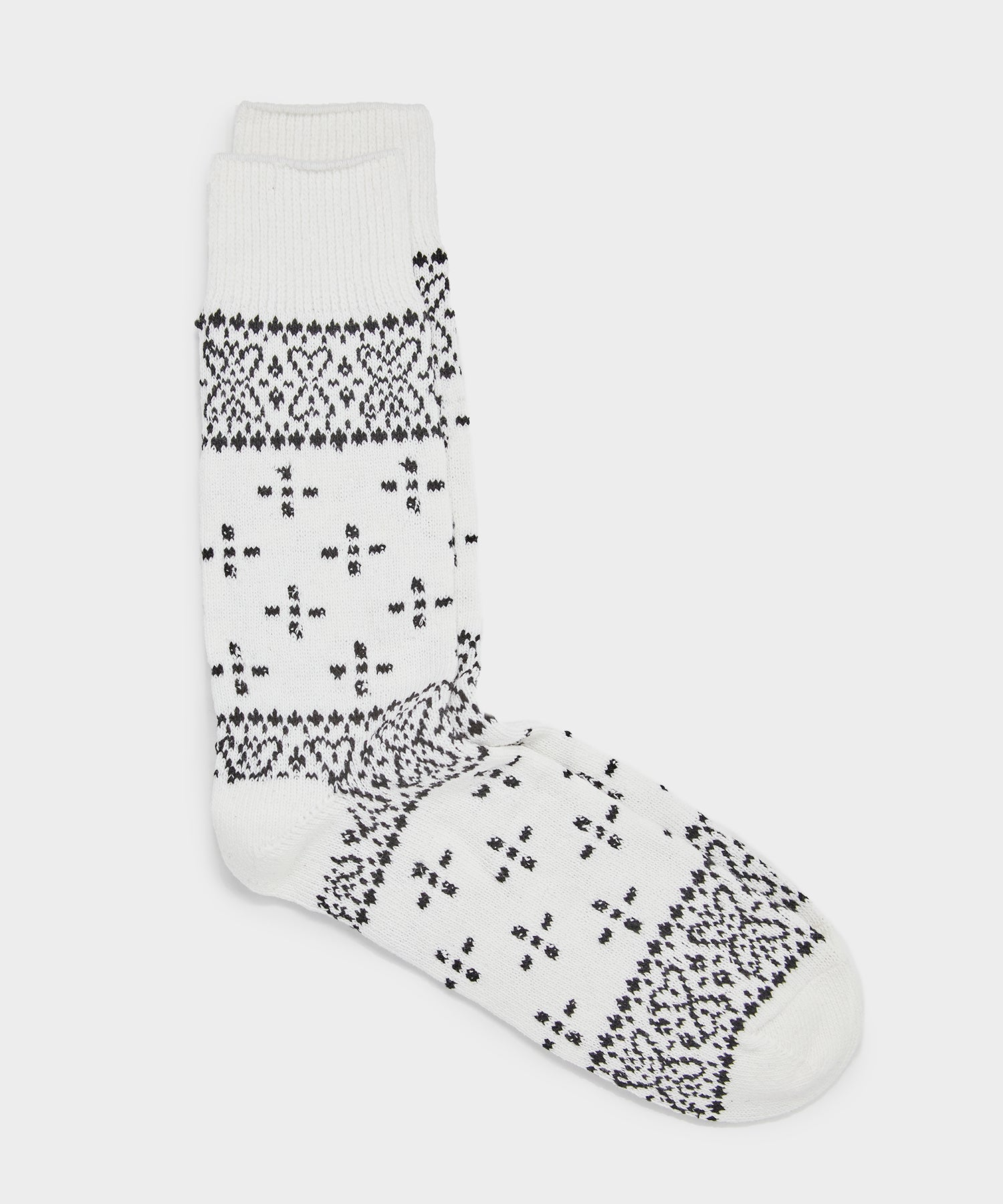 RoToTo Bandana Pattern Crew Socks in White