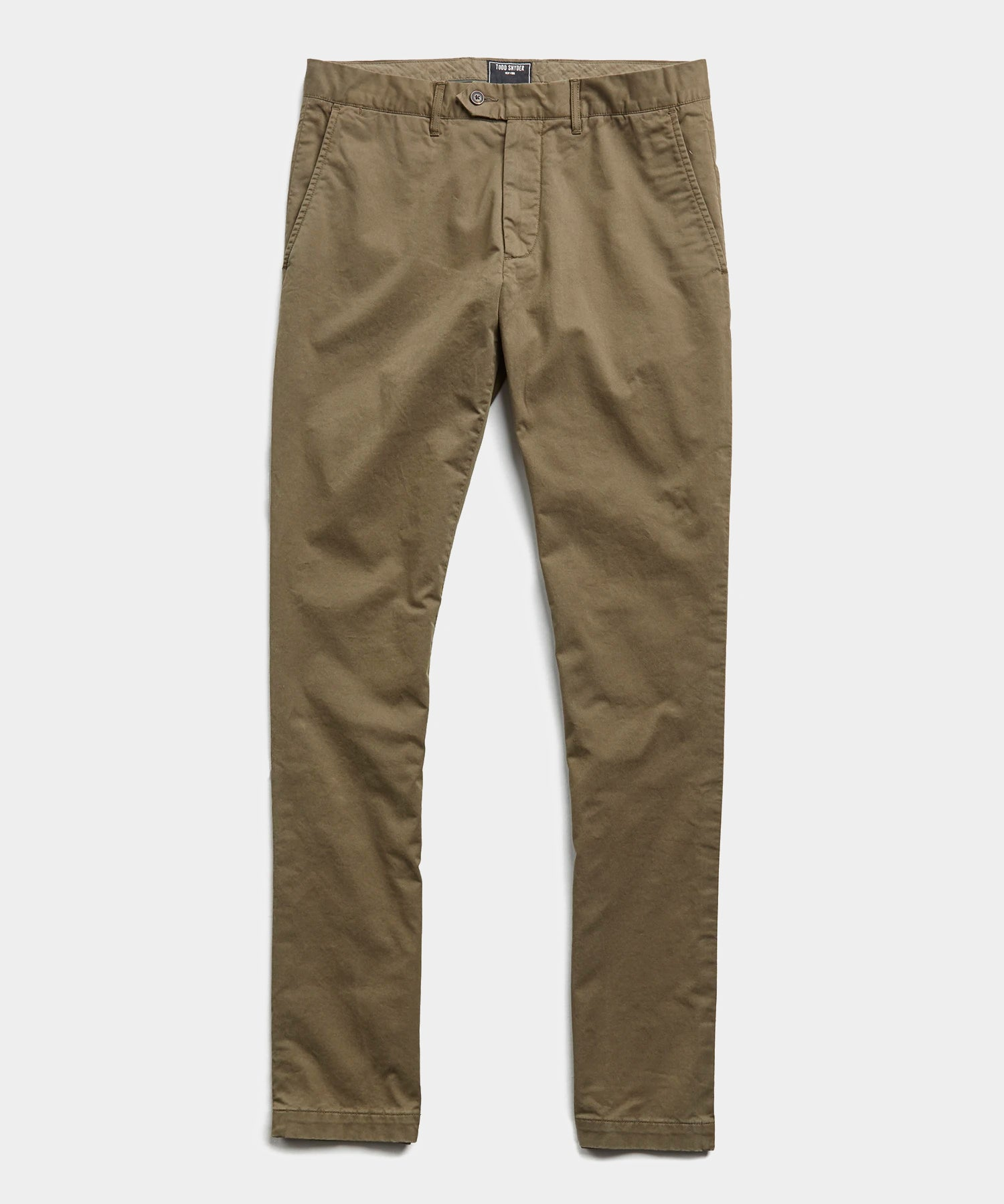 Slim Fit Tab Front Stretch Chino in Olive