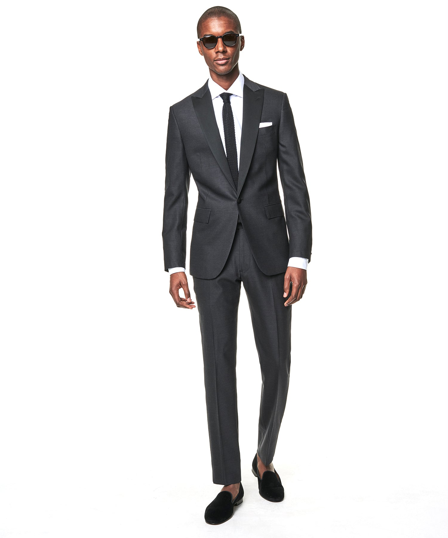 Sutton Fit Peak Lapel Tuxedo Jacket in Grey Wool