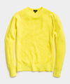 Italian Merino Waffle Crew Sweater in Neon Yellow