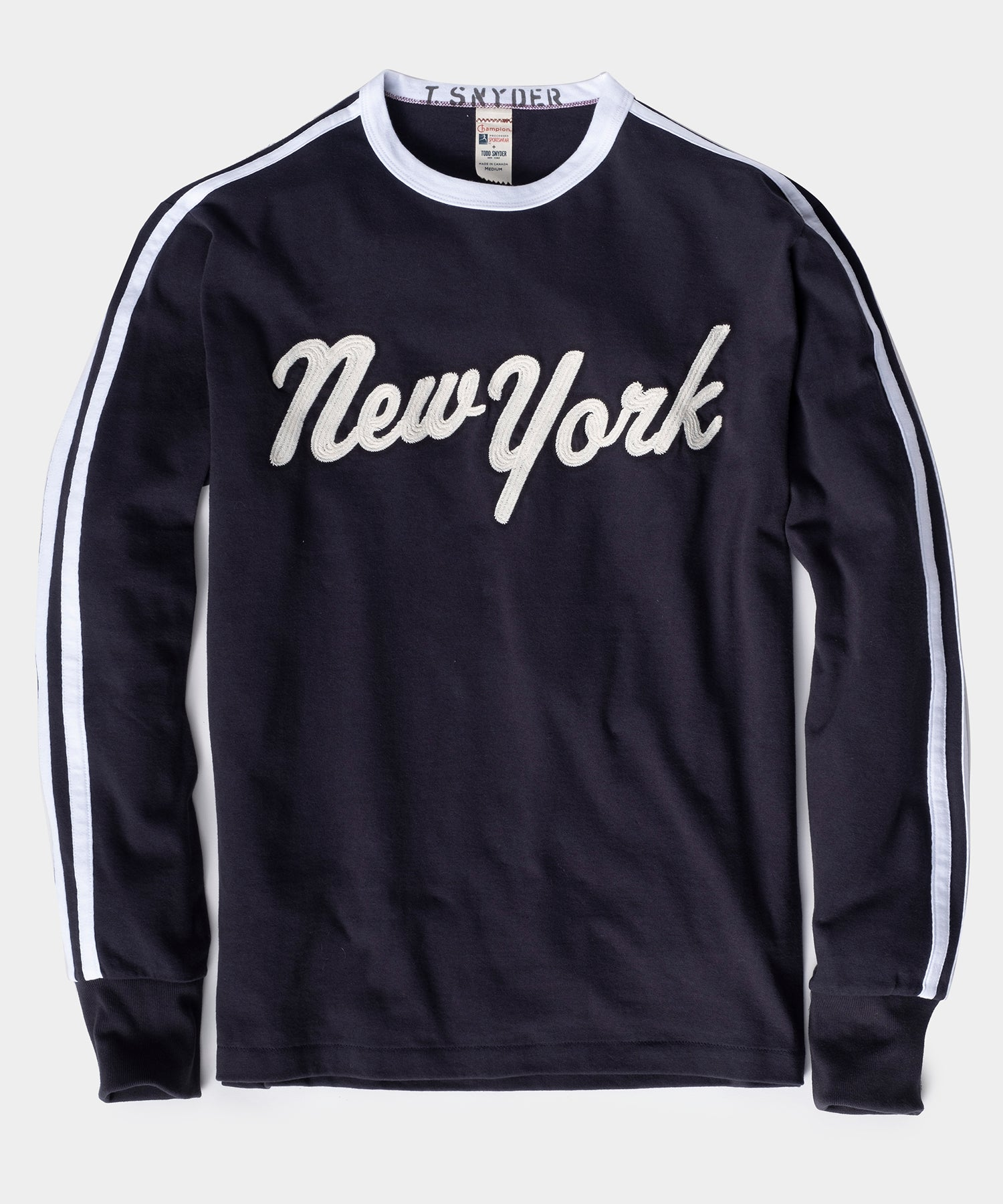 Champion Long Sleeve New York Tee in Navy