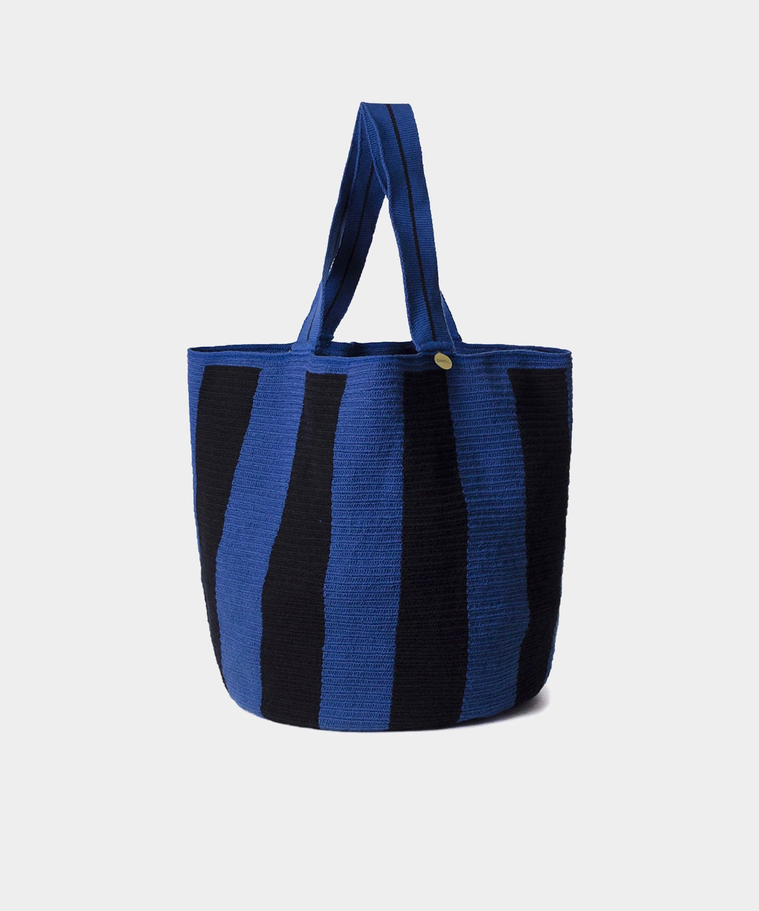 Guanábana Handmade Beach Bag Blue & Black Stripe