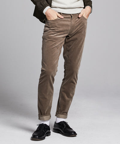 Slim Fit 5-Pocket Stretch Italian Cord in Ash