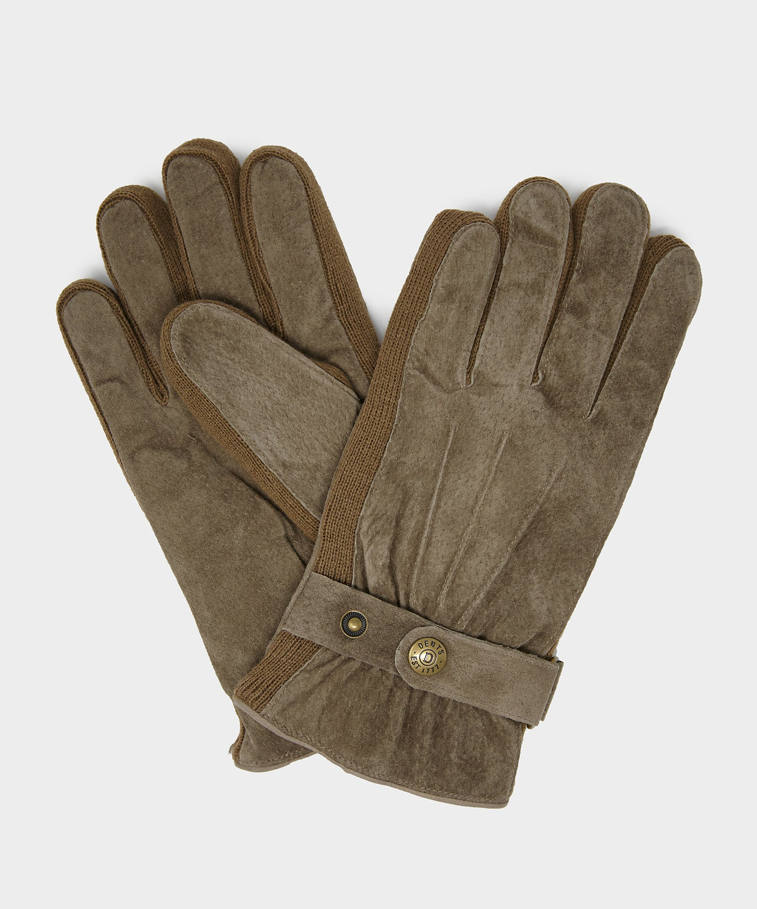 Dents Mens Suede Walking Gloves in Olive