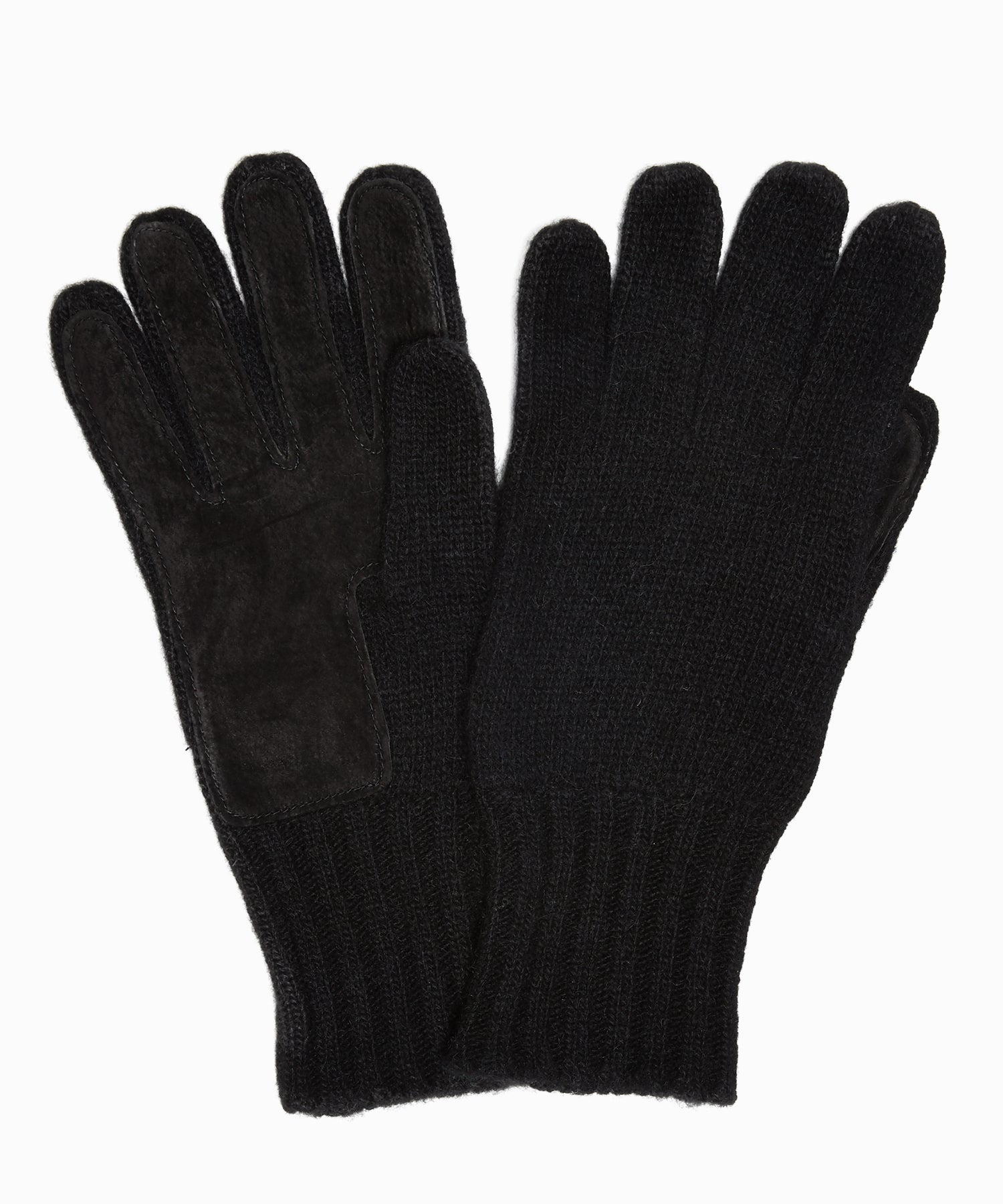 Dents Cardiff Cashmere Knitted Gloves with Suede Palm Patch in Black