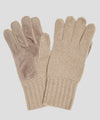 Dents Cardiff Cashmere Knitted Gloves with Suede Palm Patch in Camel