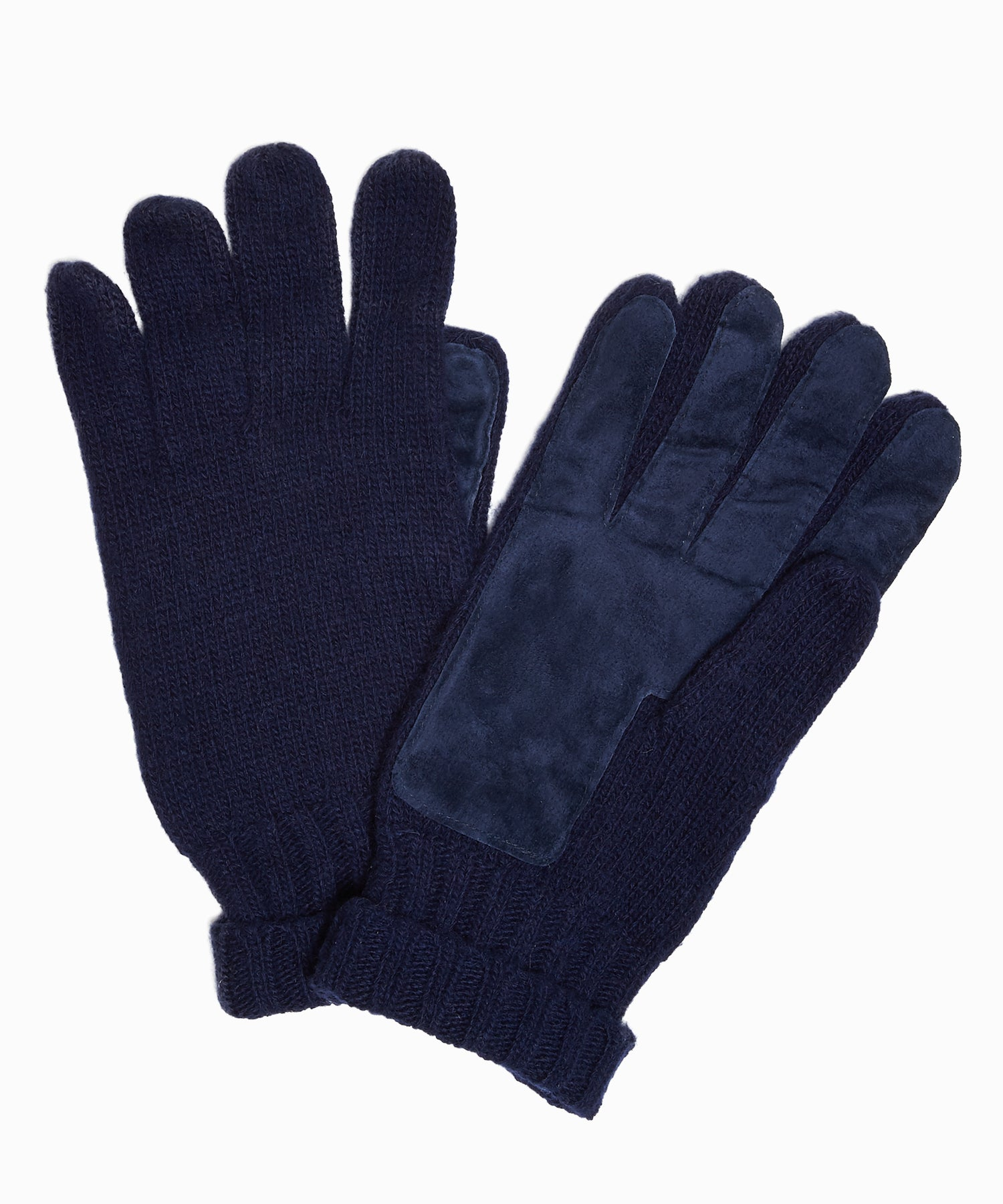 Dents Cardiff Cashmere Knitted Gloves with Suede Palm Patch in Navy