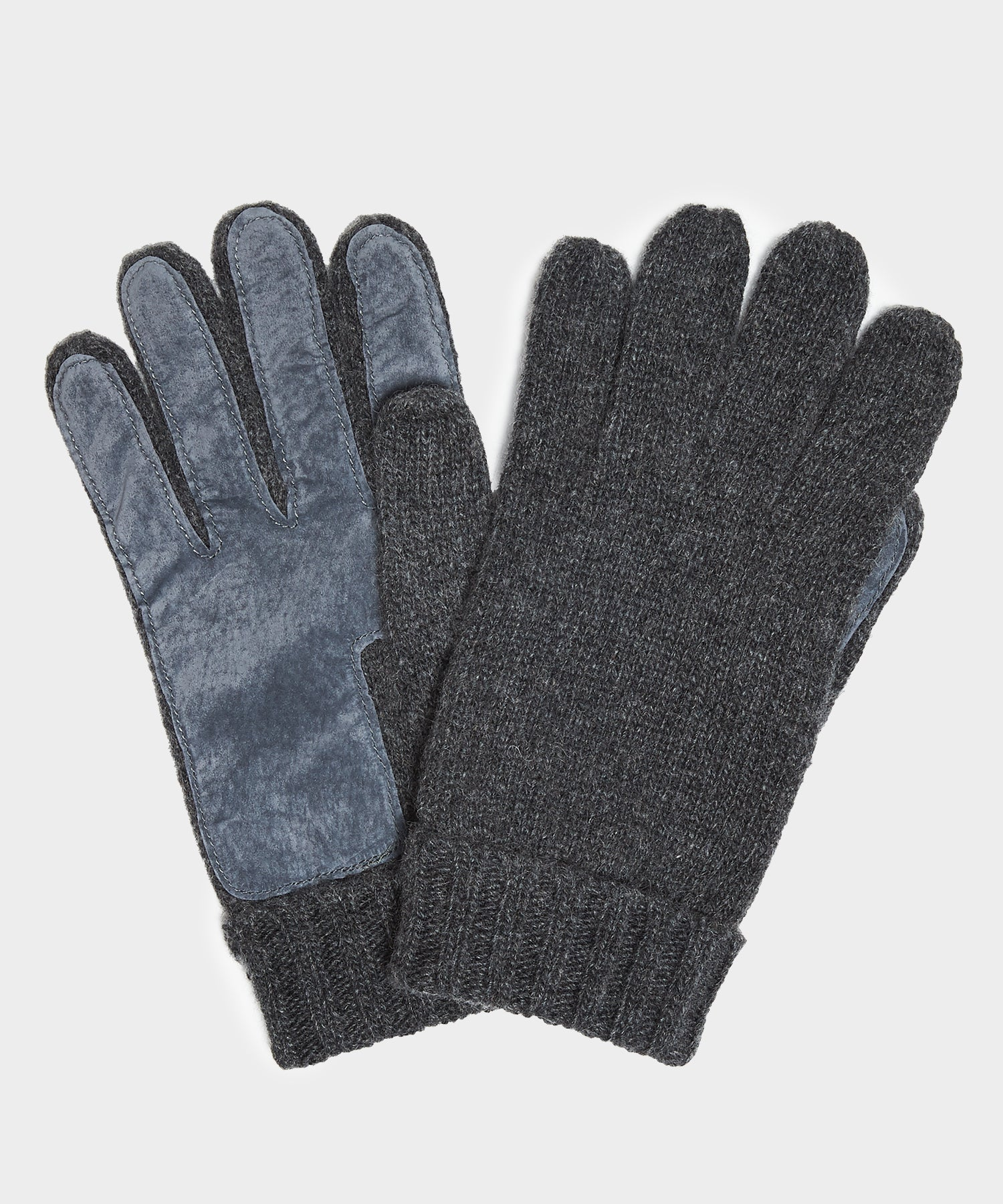Dents Cardiff Cashmere Knitted Gloves with Suede Palm Patch in Charcoal
