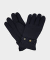 Dents Fleece Lined Waxed Cotton Gloves in Navy