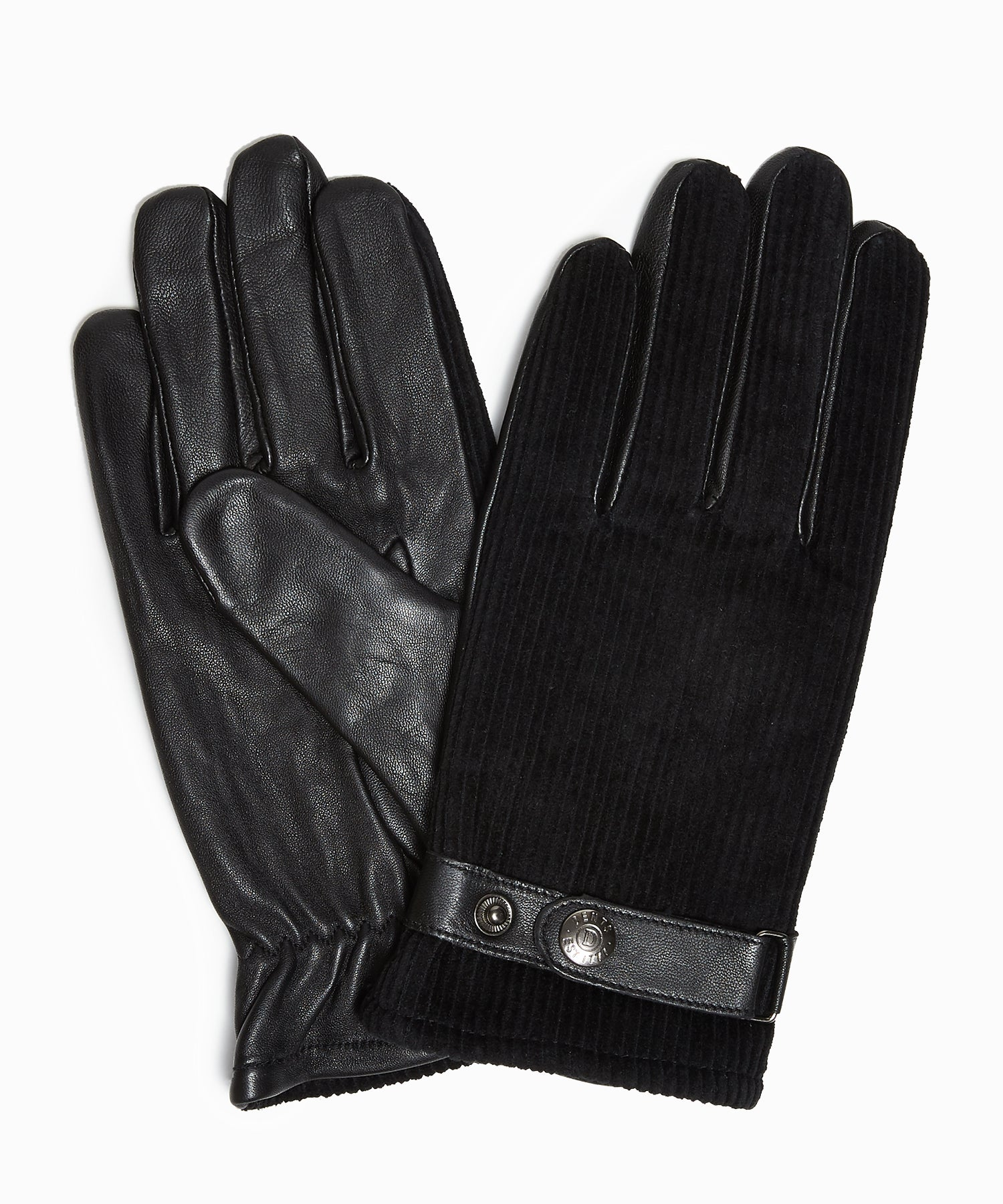 Dents Malton Fleece Lined Corduroy & Leather Gloves in Black