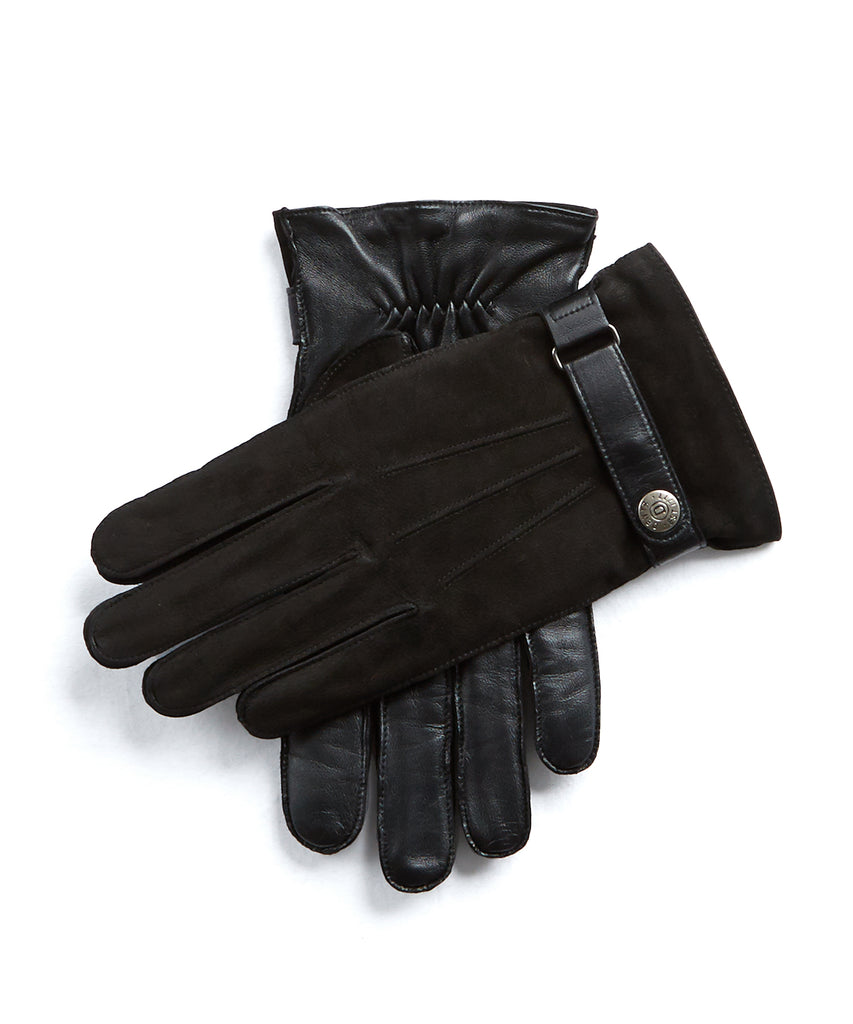 5d78bc8c7e363 Dents Marlborough Wool Lined Nubuck & Leather Gloves in Black
