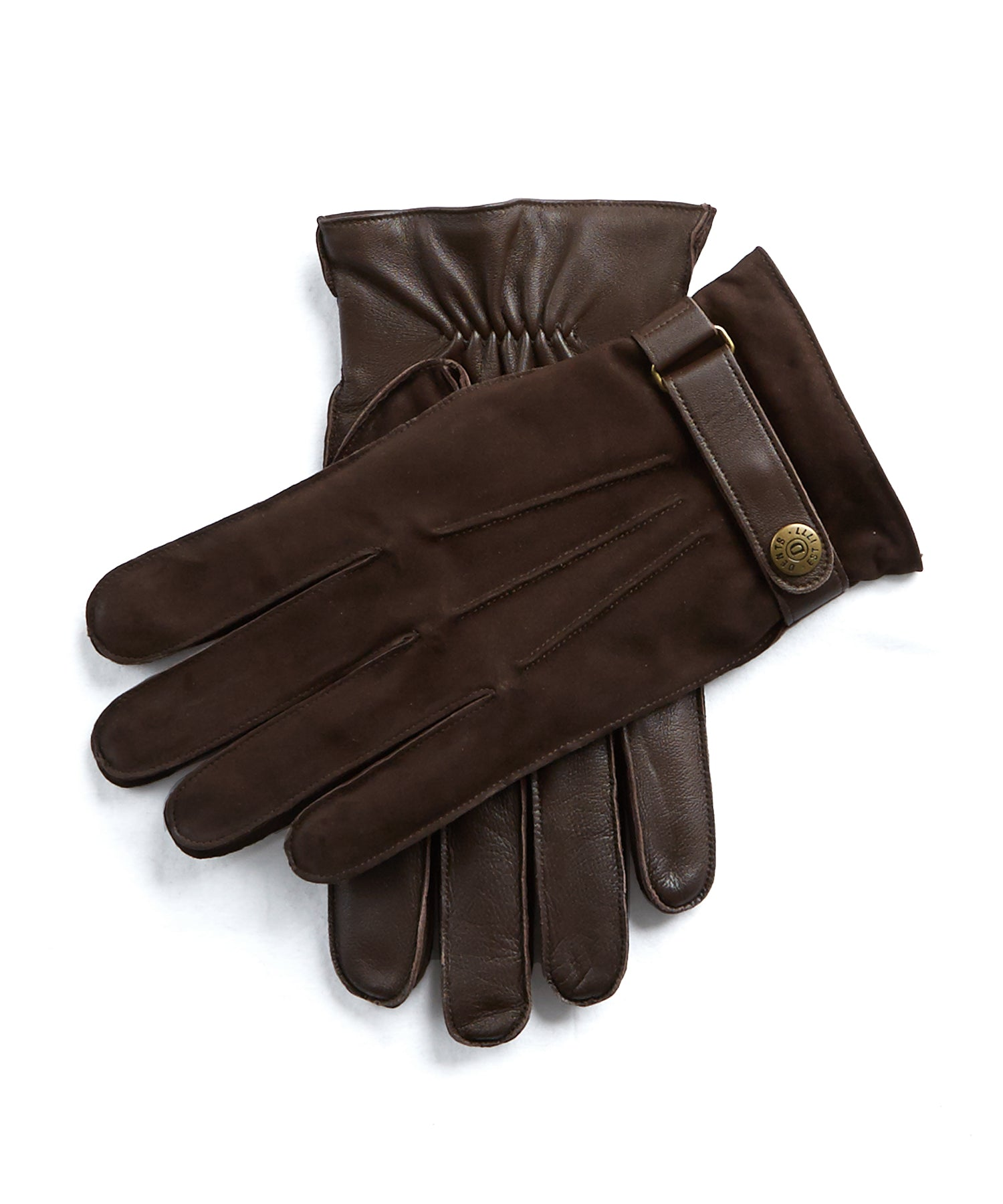 Dents Marlborough Wool Lined Nubuck & Leather Gloves in Brown