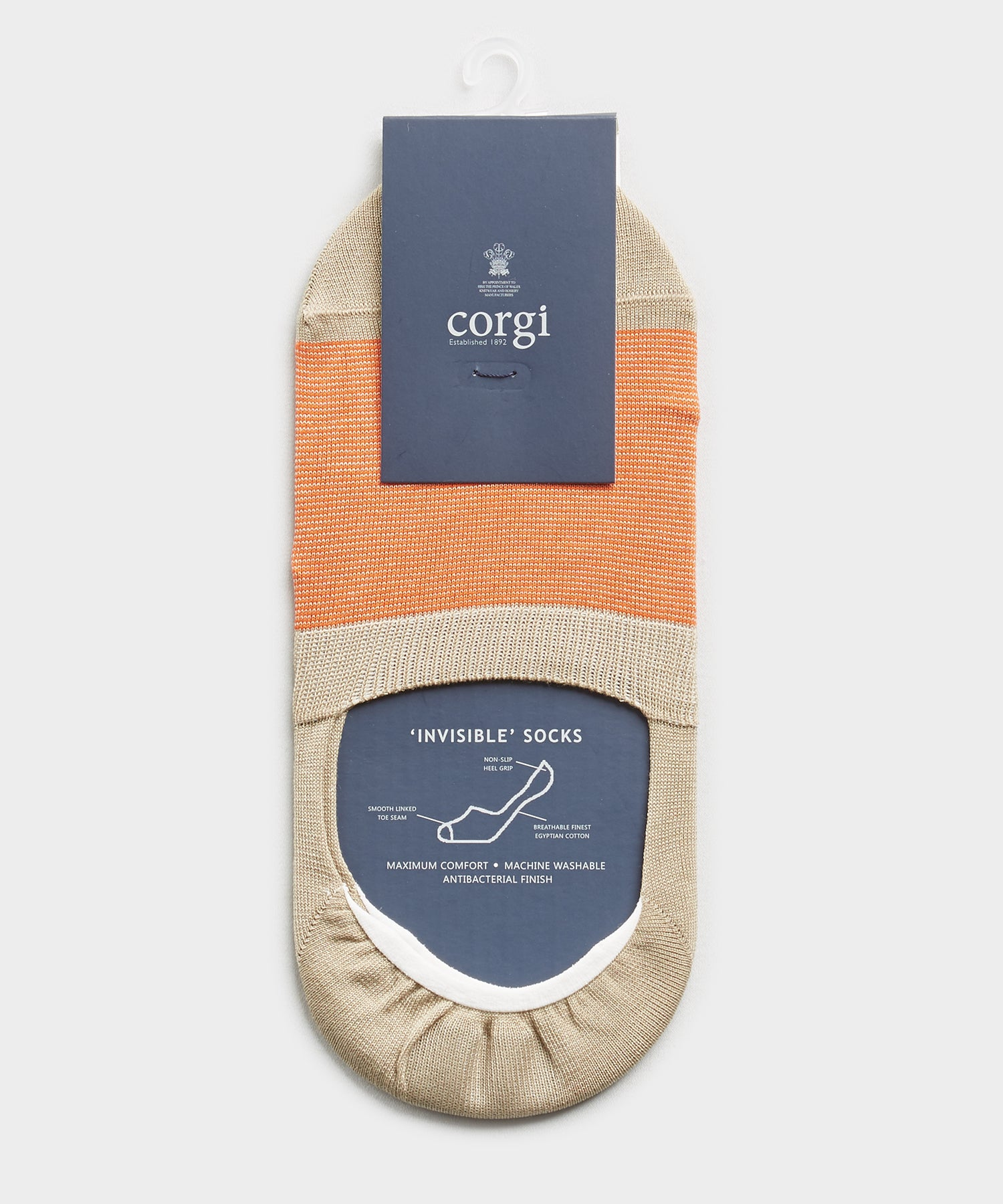 Corgi No Show Micro Stripe Sock in Beige