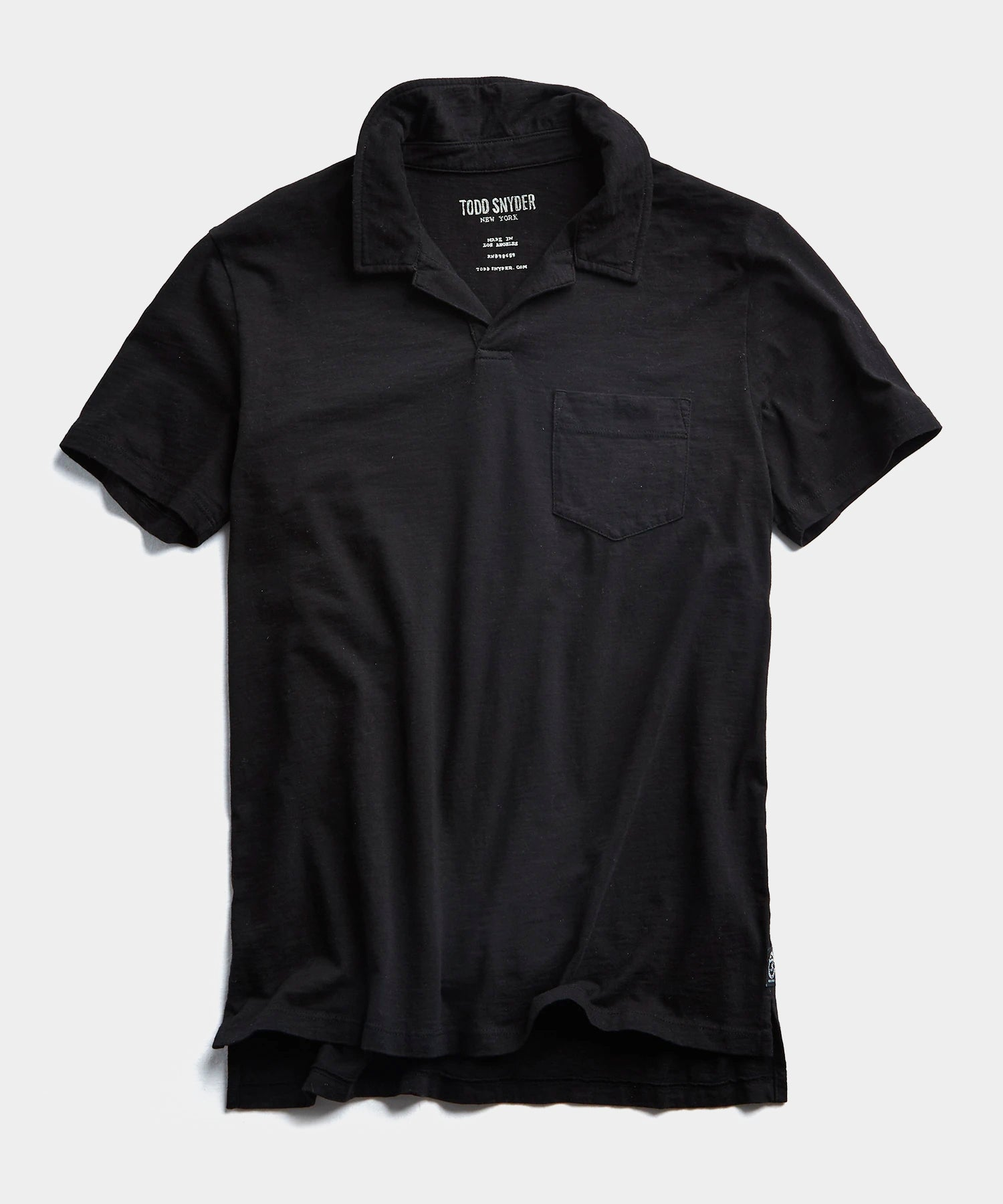Made in L.A. Slub Jersey Montauk Polo in Black