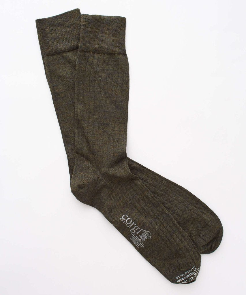 Corgi Solid Wool/nylon Blend Sock in Olive