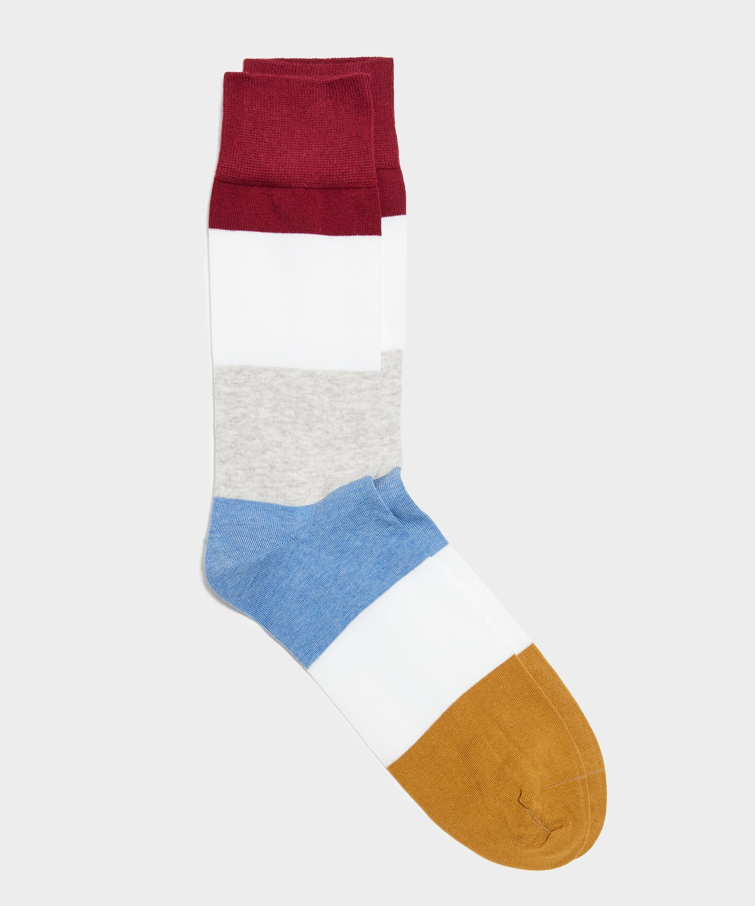 Corgi Block Stripe Burgundy Tipped Toe Sock in Vino