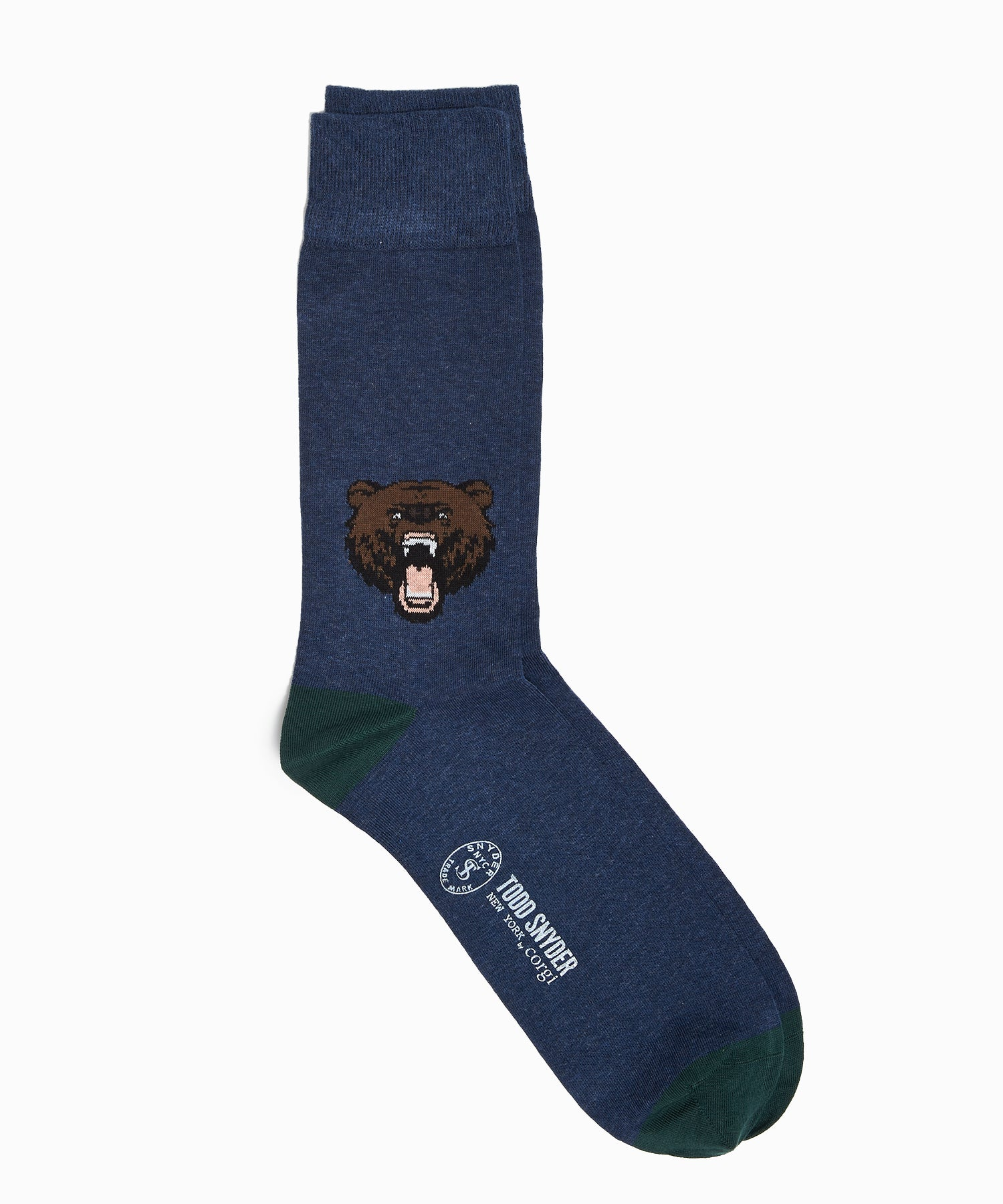 Corgi Angry Bear Motif Cotton Blend Socks in Denim