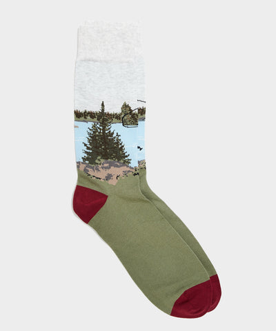 Corgi Scenic River Sock in Green