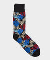 Corgi Fan Leaf Floral Sock In Black
