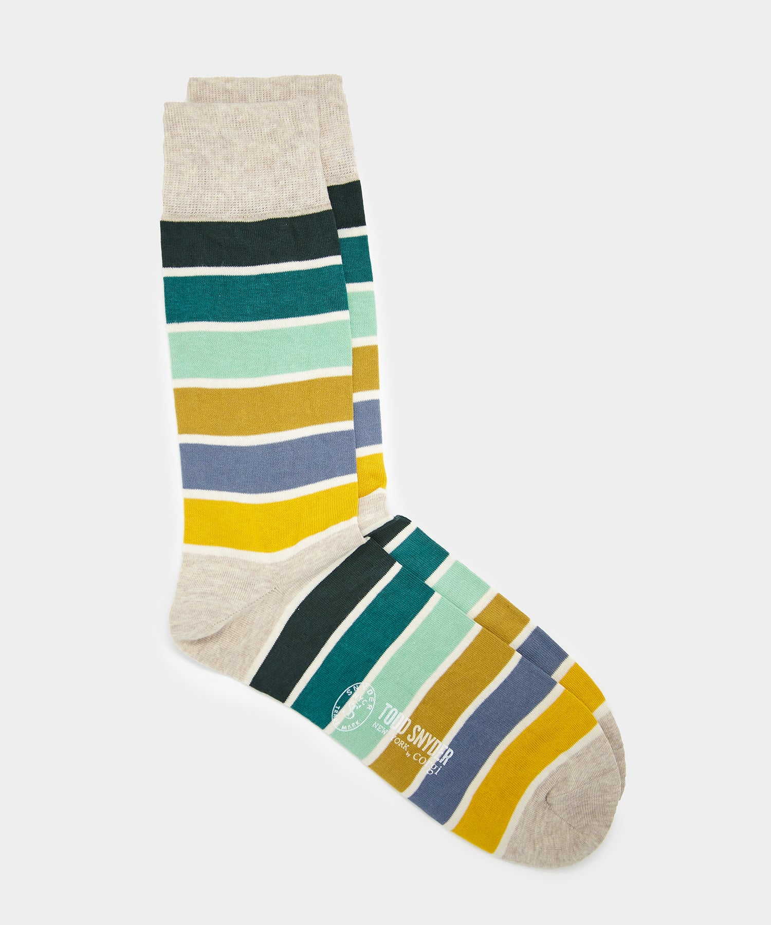 Corgi Multi Stripe Sock in Stone