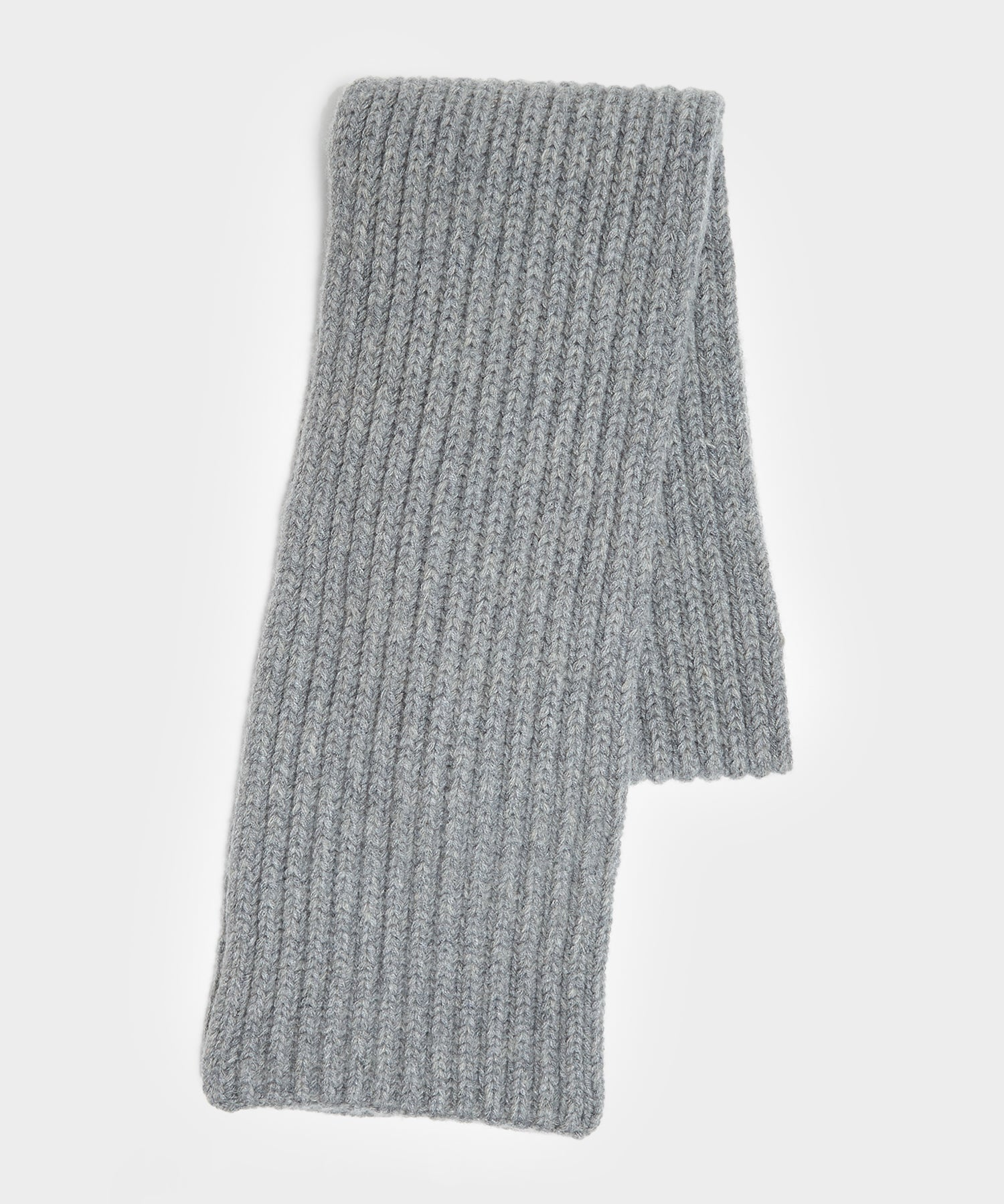 Corgi Wool/Cashmere Ribbed Scarf in Flannel Grey