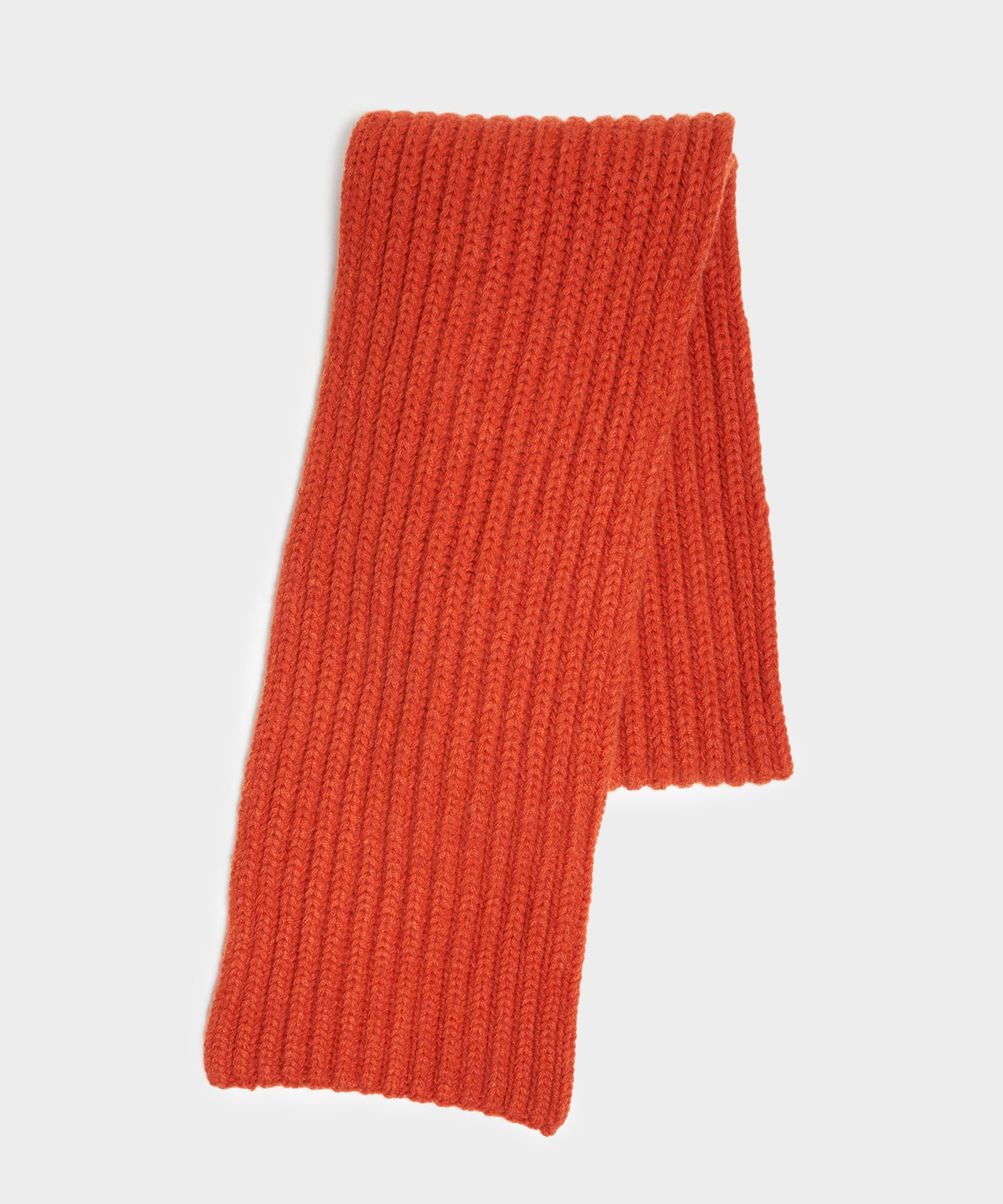 Corgi Wool Cashmere Ribbed Scarf in Furnace