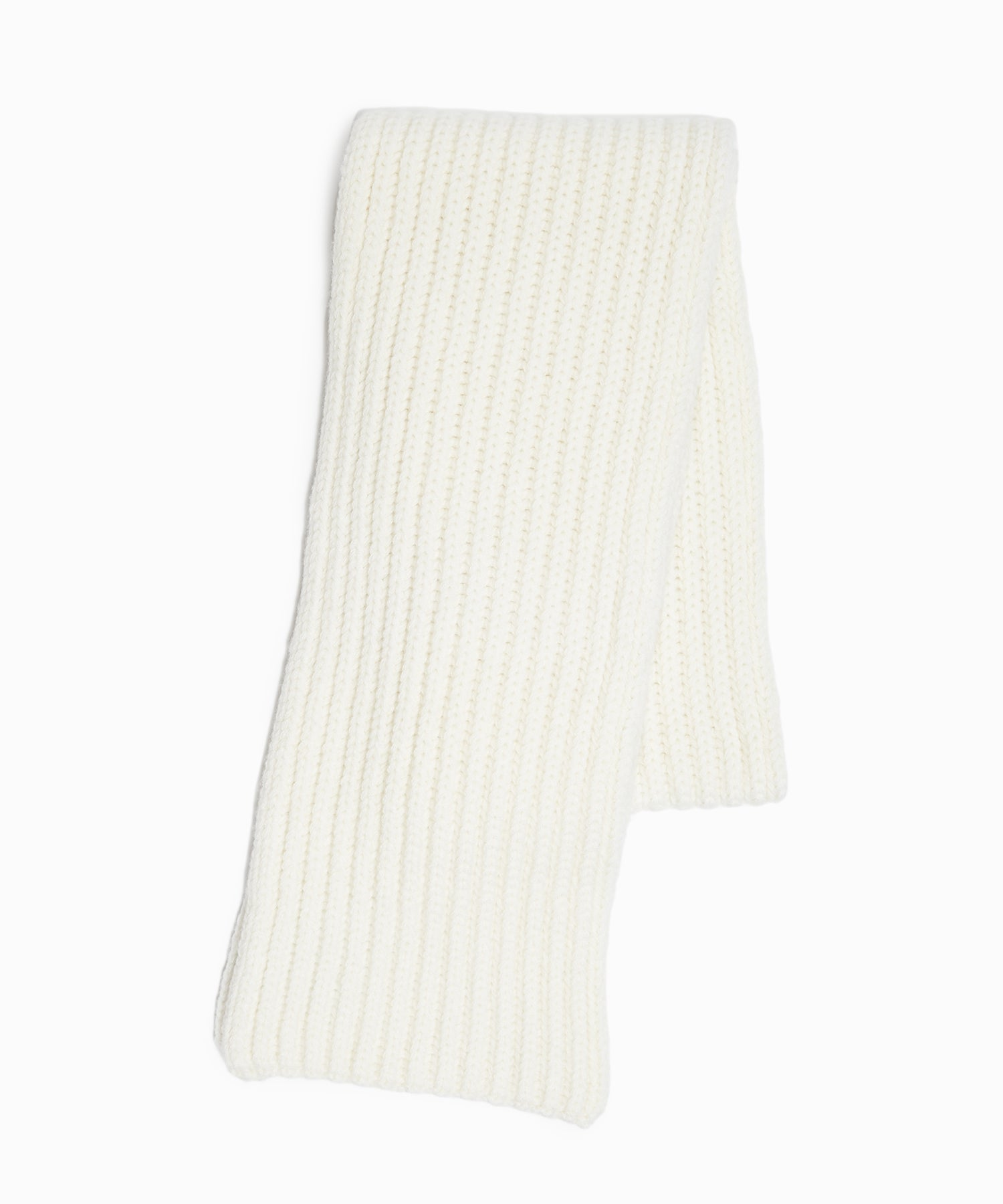 Corgi Wool Cashmere Ribbed Scarf in Ice White