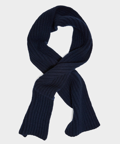 Corgi Wool Cashmere Ribbed Scarf in Navy