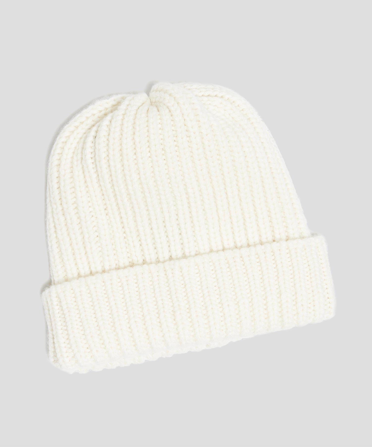 Corgi Wool/Cashmere Ribbed Beanie in Ice White