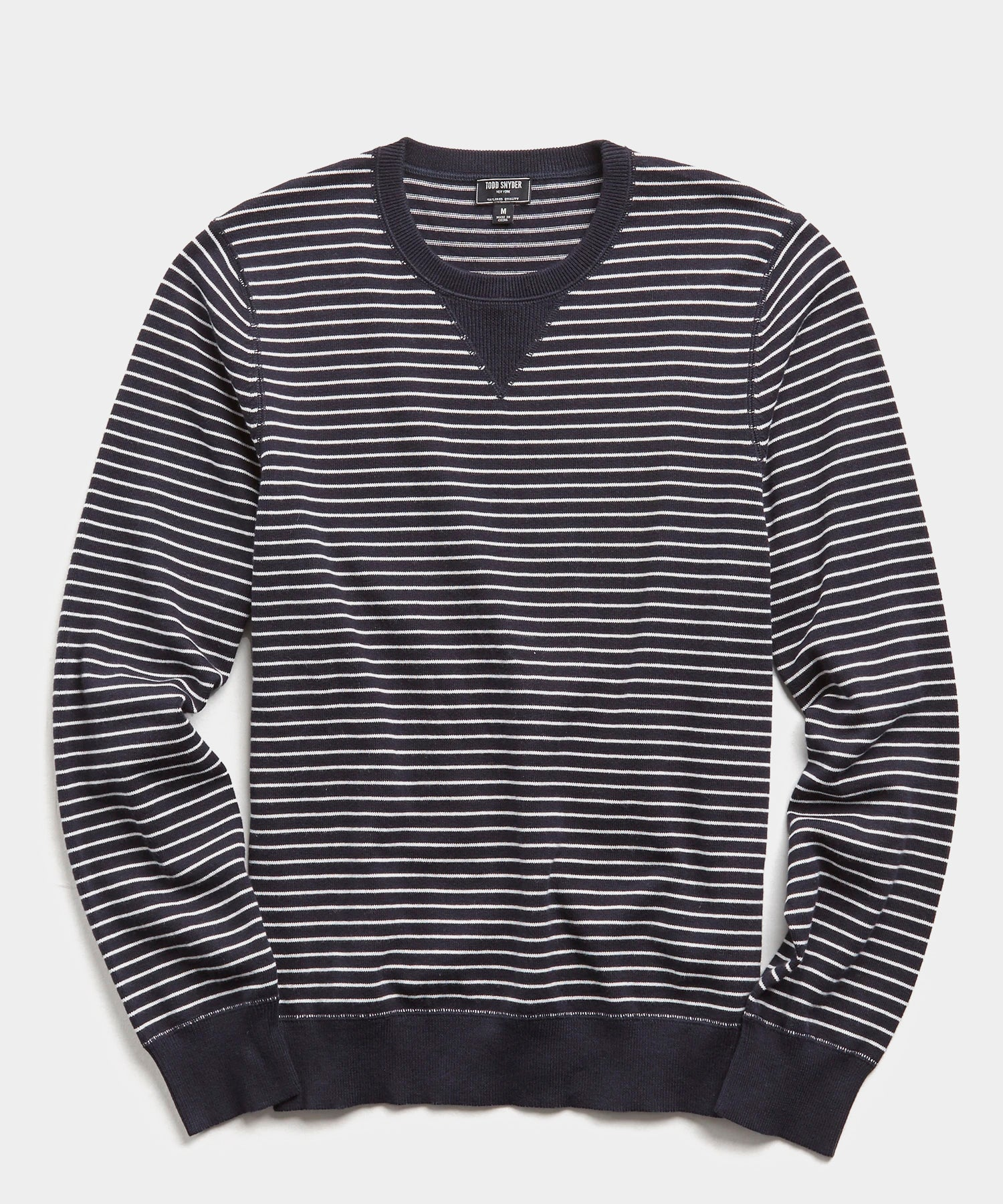 Cotton Cashmere Stripe Sweater in Navy