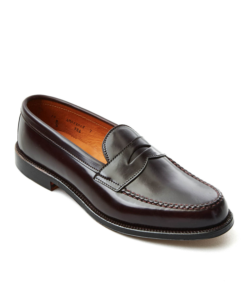 Alden Cordovan Leisure Handsewn Moccasin In Dark Burgundy
