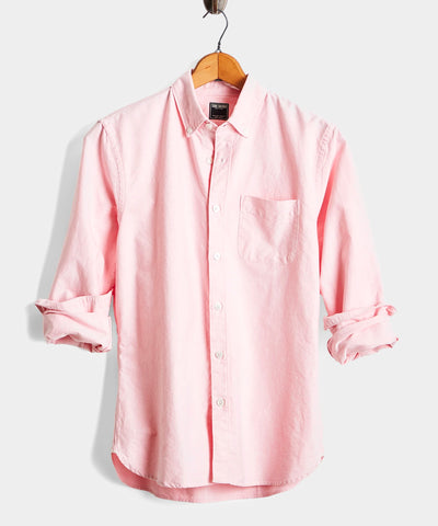 Japanese Selvedge Oxford Button Down Shirt in Pink