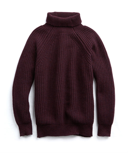 Inis Meain Boatbuilder Turtleneck in Burgundy