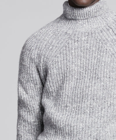 Inis Meain Boatbuilder Ribbed Turtleneck in Light Grey
