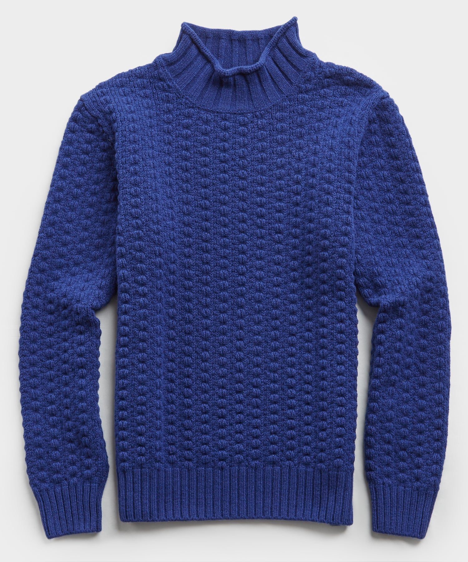 Inis Meain Moss Stitch High Ribbed Mock Neck in Cobalt