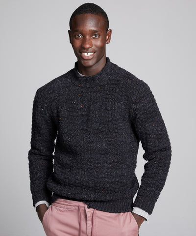 Inis Meain Moss Stitch High Ribbed Mock Neck in Charcoal
