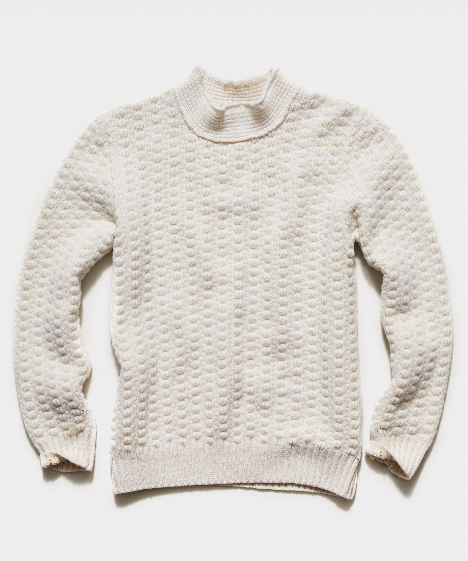 Inis Meain Beairtini Moss Stitch High Ribbed Mock in Ivory